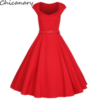 50s 60s Womens Cap Sleeves Vintage Dress Audrey Hepburn Retro Style Pin Up Rockabilly Swing Red