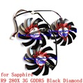 Free Shipping NEW   PLD09210D12HH PLD08010S12HH 3pcs/lot  for  sapphire    R9 280X 3G GDDR5 Black Diamond   graphics card  fan