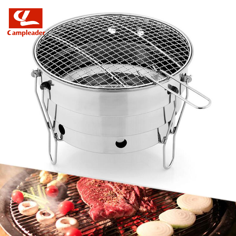 лучшая цена Small BBQ Outdoor Stainless Steel Portable BBQ Grilled Net Camping Picnic Charcoal Folding Oven Export CL229