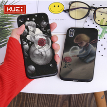 KUZI little Prince Phone Bag Case For iphone 7 XS MAX Case Soft Back Cover For iphone 6 6S 7 8 Plus iphone X XR Half Wrapped Cas hat prince protective silicone soft back case for 4 7 iphone 6 pink black