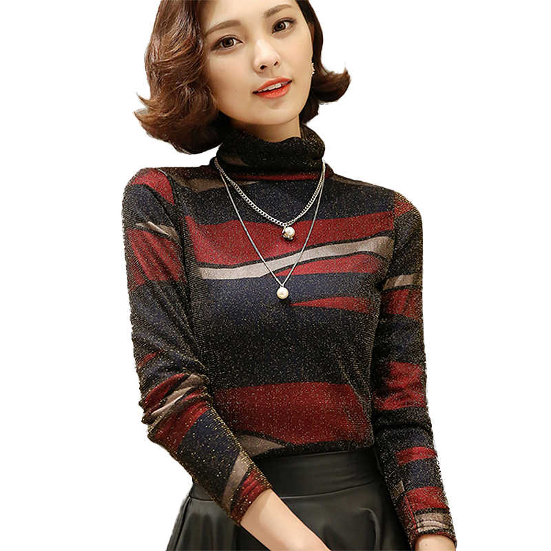 102509a51e2aa 2019 spring Autumn Elegant lace blouses Turtleneck long sleeve blouse shirt  women tops plus size women