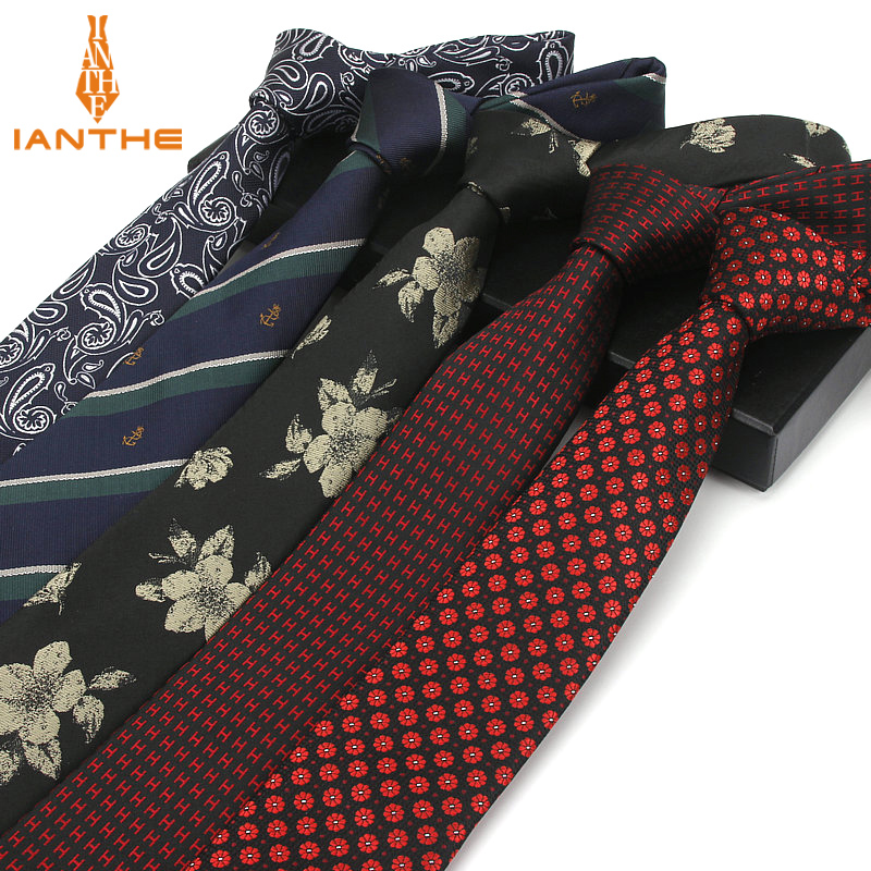 7CM Factory Men's Paisley Floral Skinny Ties For Men Wedding Tie Slim Men Luxury Necktie Designers Fashion Kravat Dot Neckwear