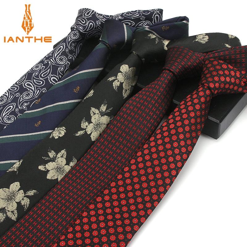 7CM Factory Men's Paisley Floral Skinny Ties For Men Wedding Tie Slim Men Luxury Necktie Designers Fashion Kravat Dot Neckwear