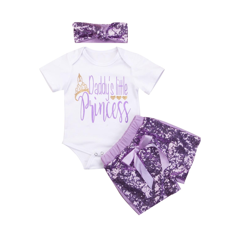 c72edbc584cb Newborn Baby Girls Daddy s Princess Romper + Sequins Shorts Pants+Headband  Outfits Set