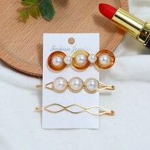 Bohopan 3PCS/Set Elegant Alloy Hair Clips Set Round Acrylic Pins For Women Classic Pearl Female Accessories Headwear