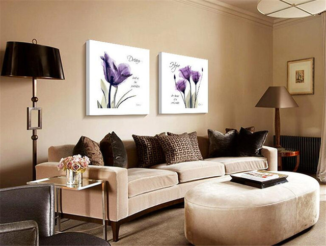 Nice 2pcs Canvas Wall Art Pictures For Sale Living Room Purple Modern Abstract Painting Oil Paint