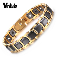 Korea Mens Health Energy Bracelet Bangle Black Ceramic Bio Magnetic Germanium Bracelets Gold Plated Stainless Steel
