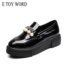 E TOY WORD patent leather oxford women shoes flat platform shoes Female black High Quality string bead Brogue Loafers fashion