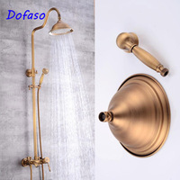 Dofaso antique brass shower set copper shower head round vintage retro rain shower head 8 inch shower retro faucet