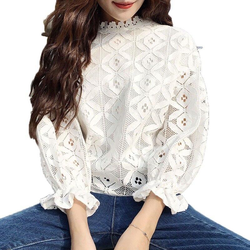 dc21c9a1ddd Купить Корейская стильная кружевная блузка модная женская блузка с  воротником стойкой с длинным рукавом Тонкая кружевная женская рубашка Цена  Дешево .