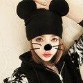 3 ШТ./ЛОТ Корея Женская Мода Трикотажные Шапочки Шляпа Кошачьи Уши женская Милый Шляпу Микки Маус Крючком Теплые Шапки A155