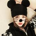 3PCS/LOT  Korea Fashion Women Knitted Beanies Hat Cat Ears Women's Cute Hat Mickey Mouse Crochet Warm Caps A155
