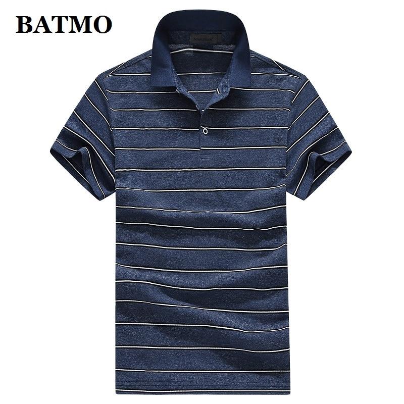 BATMO 2019 new arrival summer high quality cotton striped casual men's   polos   ,men's   polo   shirts size M-XXXL T929