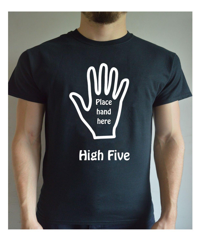 Забавная Футболка с принтом High Five Hi 5 место стороны здесь присутствует Шутка Подарок на Рождество