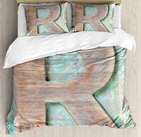 Letter R Duvet Cover Set Wooden Alphabet Block Antique Letterpress Theme Grunge Display Print, 4 Piece Bedding Set