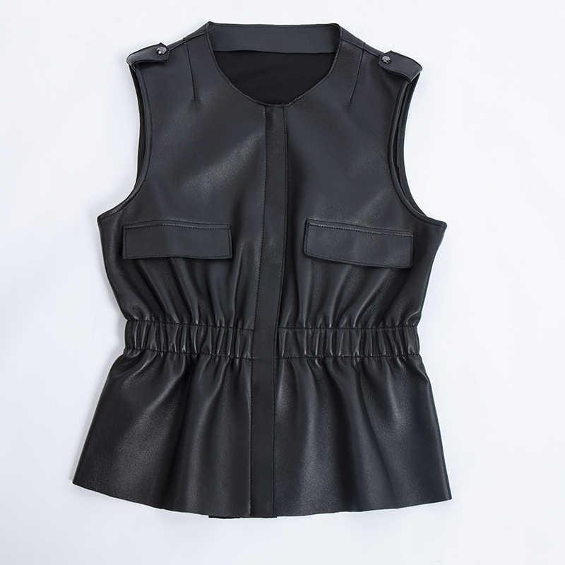 Hakiki deri kadın yelek 2019 Yeni Marka Sonbahar Kolsuz ceket Sıcak Yelek Koyun Derisi Siyah Ofis Bayan Kadın Süet