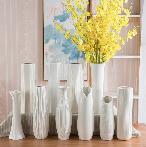 Table vases white porcelain vase European living room simple decoration