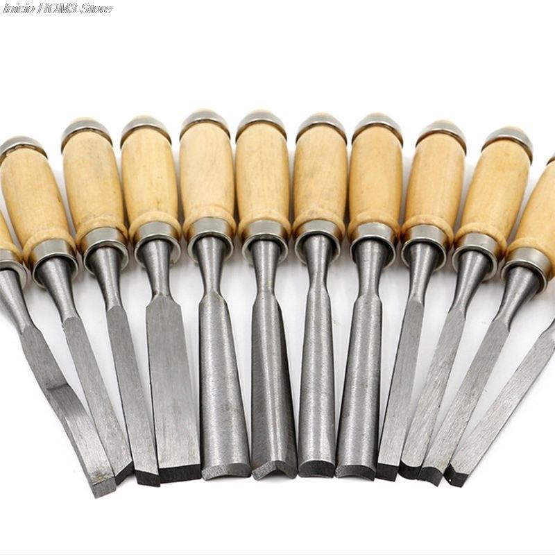 Multifunctional 12 Pcs Manual Wood Hand Tool Set Carpenters Woodworking Carving Chisel DIY Detailed Tools