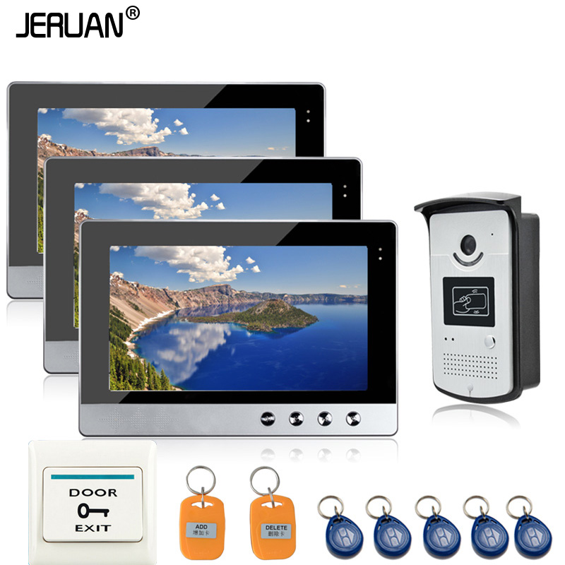 JERUAN Wired 10 inch TFT color Screen Video Door Phone Intercom RFID Access System 3 Monitors + 1 Waterproof Door Camera brand new wired 7 tft color screen video door phone intercom system waterproof rfid access doorbell camera free shipping