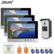 JERUAN Wired 10 inch TFT color  Screen Video Door Phone Intercom RFID Access System 3 Monitors + 1 Waterproof Door Camera