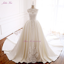 Julia Kui Lustrous Stain O-Neckline A-Line Wedding Dresses With Chapel Train Beading Pearls Lace Of Bridal Dress