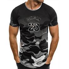 d9304736d6b6c7 2019 gorąca sprzedaż nowa Tee Jordan 23 drukuj mężczyźni jogger koszulka  najwyższej jakości kamuflaż michael jordan