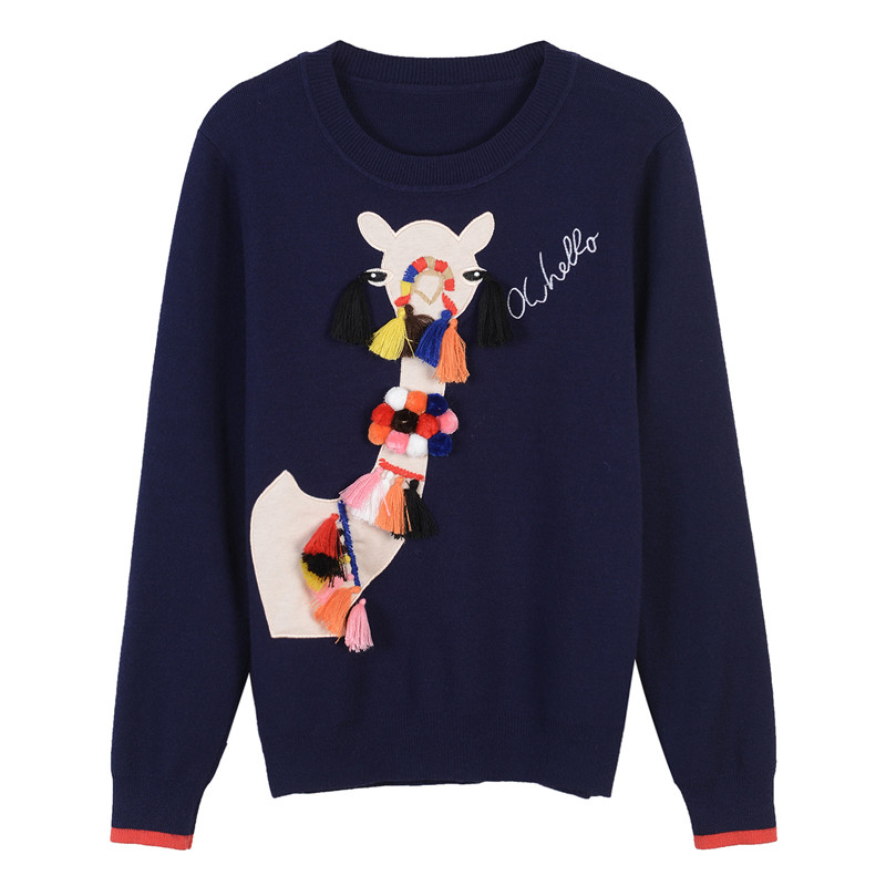 3D Alpaca Pattern Sweater
