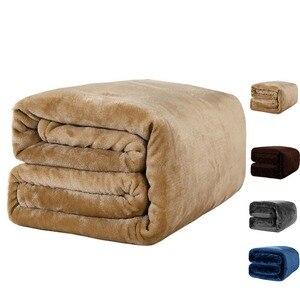 Image 1 - Blu scuro coperta in pile coperta sul letto/divano aggiornato coperta di flanella per lautunno/primavera, adulti biancheria da letto morbido 380G/M2