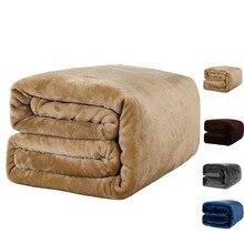 Couverture en molleton bleu foncé sur le lit/canapé couverture en flanelle améliorée pour lautomne/printemps, literie douce pour adulte 380G/M2