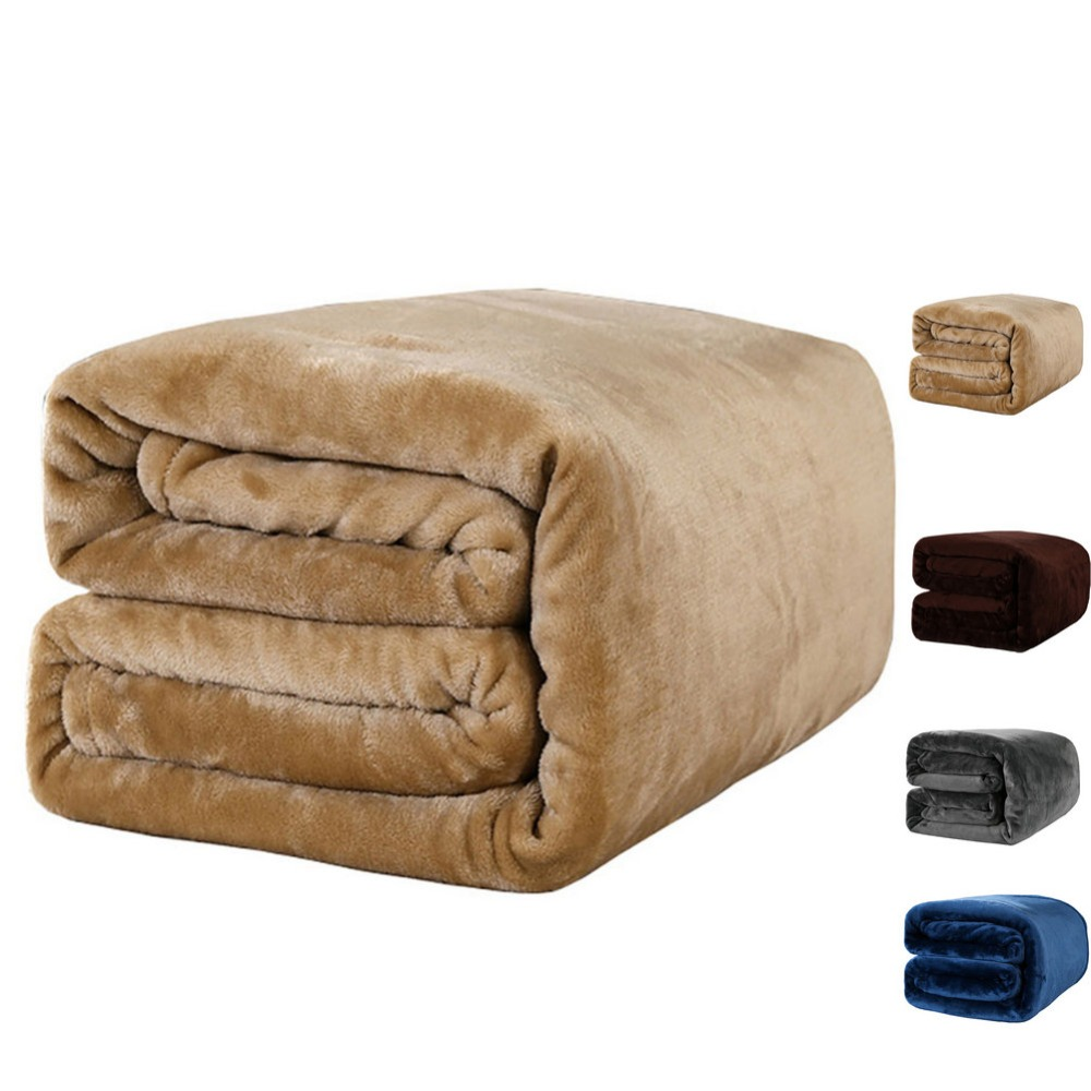 Dark blue fleece blanket blanket on the bed/sofa upgraded flannel blanket for autumn/spring,adult soft bedding 380G/M2-in Blankets from Home & Garden