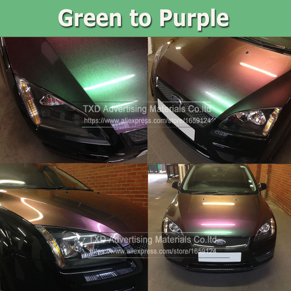 4 Sizes Green to purple Chameleon Vinyl Film 3 Layer Glossy Diamond Pearl Chameleon Vinyl Car Wrap Full Body Car Sticker Sheet