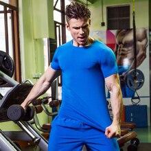 Summer Running Shirts Men Short Sleeve Sports Suit Gym Crossfit Fitness Soccer Jersey Training T Shirt Jogging Sweat Shirt Top