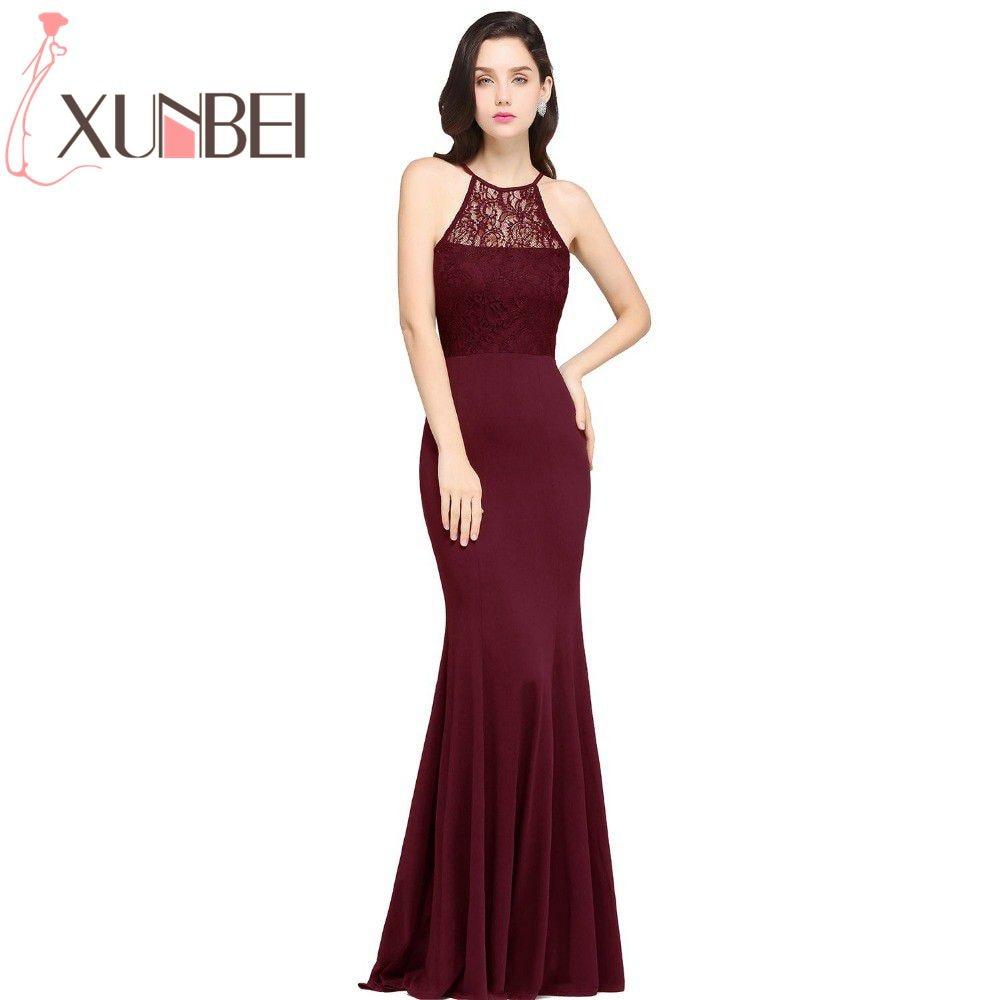 Robe De Soiree Longue Mermaid Burgundy Lace Cheap Long   Bridesmaid     Dresses   2017 Halter Simple Prom   Dresses   Party Gown