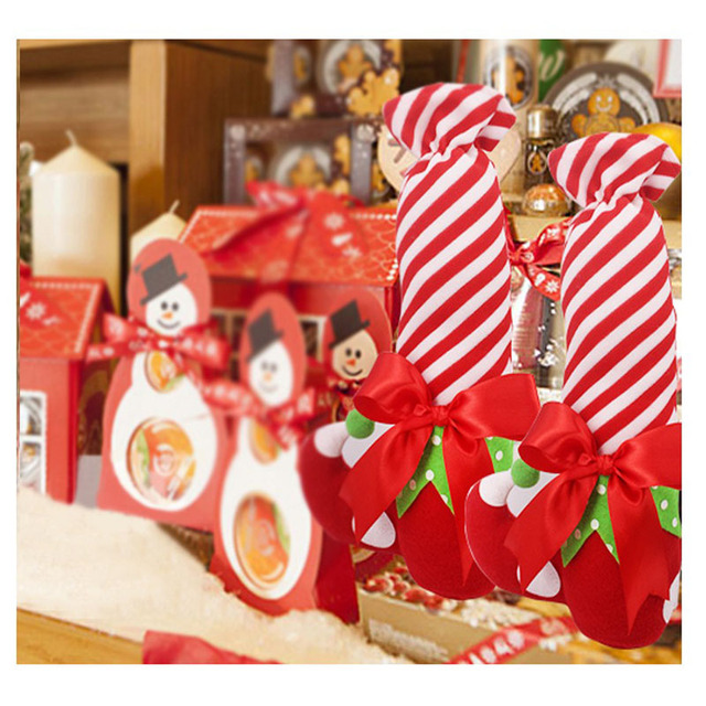 christmas candy bags lovely santa elf shoe boot stripe cute candy gifts bag christmas decor elf - Christmas Candy Bags