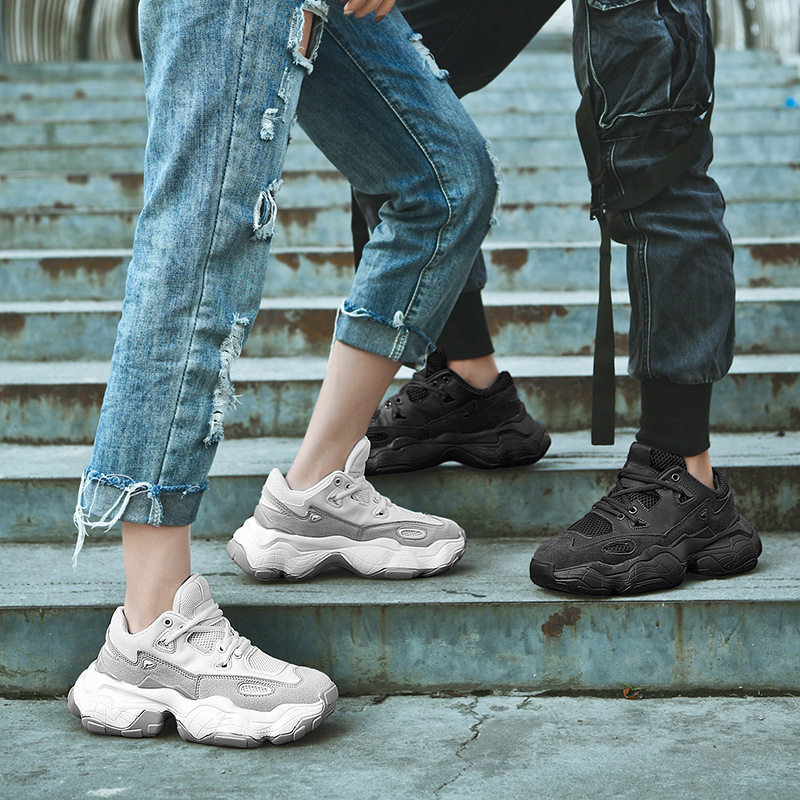 ADBOOV 2019 New Genuine Leather Sneakers Men Women Plus Size 35-47 Designer Chunky Shoes Breathable Platform Casual Shoes 4