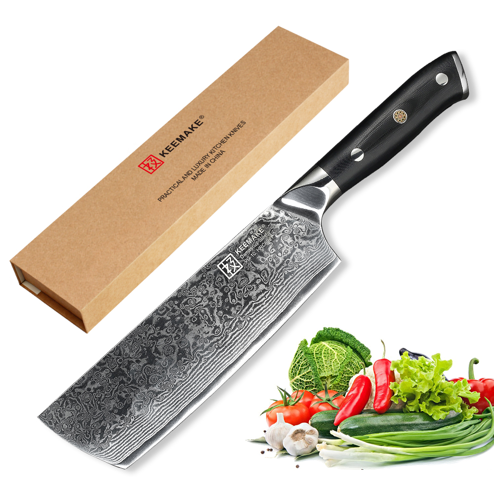 KEEMAKE Chef Kitchen Knives Japanese Damascus 73 Layers Steel VG10 Sharp Blade 7 inch Cleaver Knife