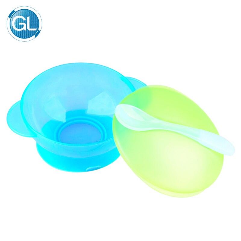 GL Cute 1 Set Baby Feeding Bowl No Slip Spoon Cover Baby Food Fruit Feeder Bowl Anti Slip Tableware Dinnerware Early Learning