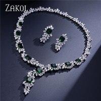 ZAKOL Top Quality 4 Color AAA CZ Diamond Flower Shape Jewelry Set Fashion Silver Plated Ladies