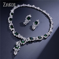 ZAKOL Top Quality 4 Color AAA CZ Diamond Flower Shape Jewelry Set Fashion Silver Plated Ladies
