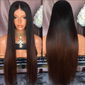 Ombre Lace Wig Silky Straight Human Hair Full Lace Wigs Unprocessed Indian Hair Lace Front Wig Glueless Lace Wigs On Sale