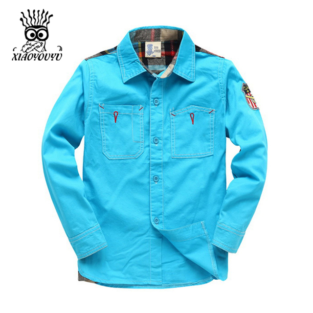 XIAOYOUYU Korean Style Boy Casual Shirt Size 100-140 cm Solid Color Pocket Patchwork Design Children Fashion Clothing