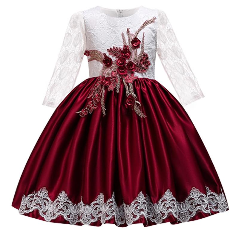 New   Flower     Girl's   Wedding Party Princess Long Sleeve Embroidery   Dress     Girl's   Birthday First Feast banquet   Dress   vestido
