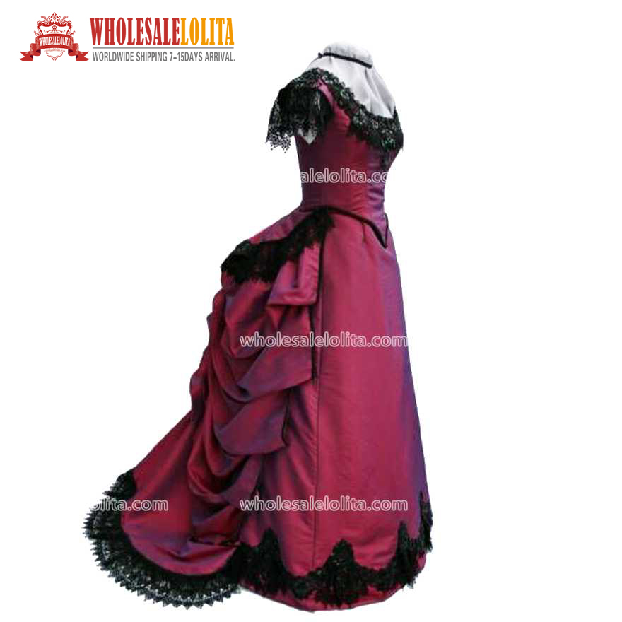 New Deep Red Taffeta Short Sleeves Victorian Bustle Ball Gown Dress
