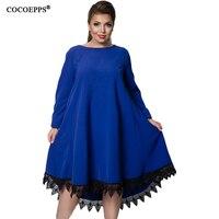 5XL 6XL Plus Size Patchwork Lace Women Dress 2017 Winter Large Size Loose Female Casual Dress