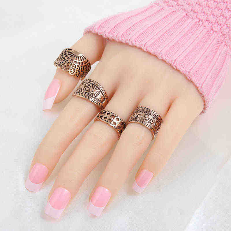 4 Pcs Fashion Wanita Perhiasan Cincin Set Dua Warna Fan Hollow Keluar Lebar Jari Cincin Hot Sale Sun Klasik RS1222