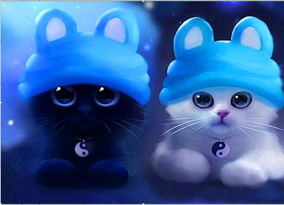 DIY 5D יהלום פסיפס קריקטורה חתולים עבודת - אומנויות, מלאכת יד ותפירה