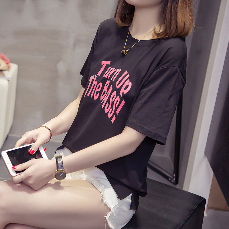 2018 New Summer Women Letter Print Fashion Casual Word Office O-Neck Tees Plus-Size Womens short sleeve 3XL 4XL T-shirt 02