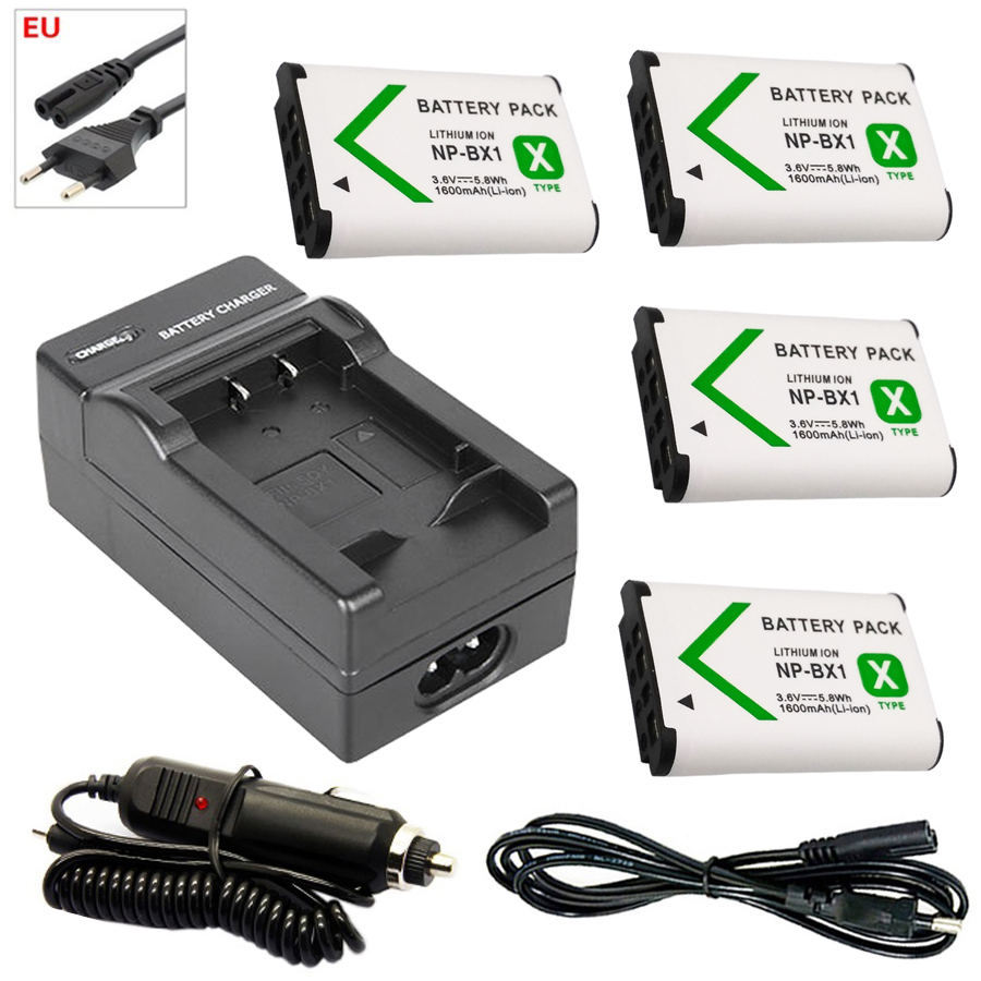 4x NP-BX1 bateria np bx1 <font><b>battery</b></font> +EU Car Charger for <font><b>Sony</b></font> DSC-RX100 DSC-WX500 HX300 WX300 <font><b>HDR</b></font> AS100v AS200V AS15 AS30V <font><b>AS300</b></font> M3 image