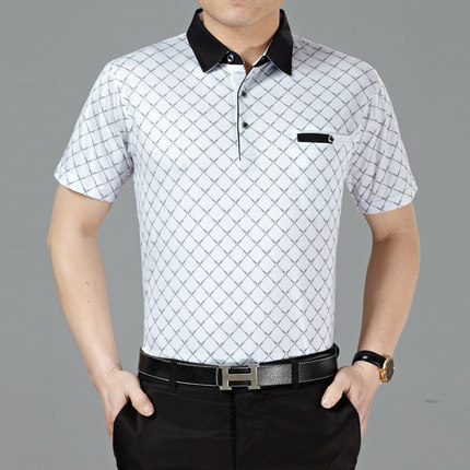 2018 new summer   polo   homme fashion short sleeve Lapel middle-aged male cotton mercerized plaid men's   POLO   shirts dad clothes
