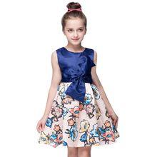 Newest Summer Baby Girls Dress Sleeveless Print  Floral Bowknot Princess Party Dresses Kids Ball Gown Wedding Dress